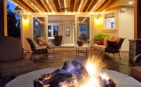 String Lighting and Fire Pit