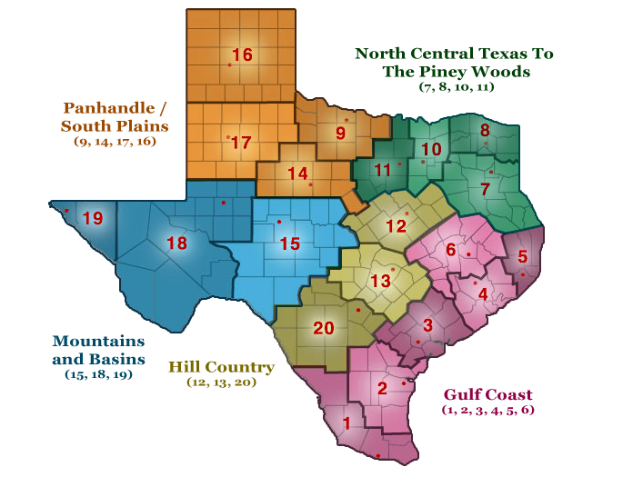 Texas Regions Map Advanced
